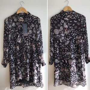 NWT Zara Brown Floral Chiffon Dress
